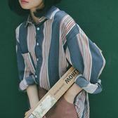 襯衫女2019春裝新款vetiver心機小眾設計感上衣韓版寬松條紋襯衣