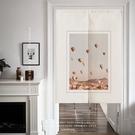 可愛時尚棉麻門簾E801 廚房半簾 咖啡簾 窗幔簾 穿杆簾 風水簾 (60cm寬*90cm高)