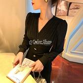 裙子新款2021年性感v領黑色洋裝女法式復古顯瘦赫本風小黑裙子 SUPER SALE 快速出貨