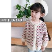 韓版女童針織外套。ROUROU童裝。春秋中小童女童復古小花針織外套 0233-302