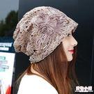 時尚蝴蝶結套頭帽子女春夏鏤空蕾絲韓版薄款月子帽花朵頭巾化療帽