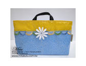 *Mita*MI-0401  水玉蕾絲小花 防水蕾絲 袋中袋 包中包  手提包 收納袋 黃色牛仔藍色