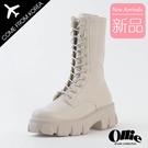 韓國Ollie 韓國空運 側拉鏈 5cm顯瘦厚底 經典百搭綁帶 鋸齒馬汀中筒靴【F720774】版型偏小/SD韓美鞋