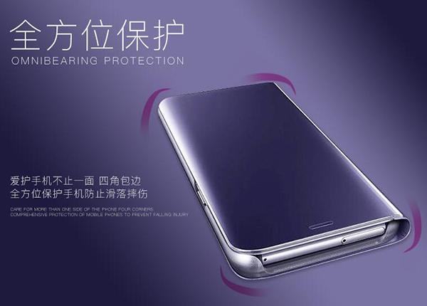 三星 2018版 A9 6.3吋 新款鏡面皮套 免翻蓋手機套 金屬色保護殼 側翻手機殼 簡約電鍍保護套 PC硬殼
