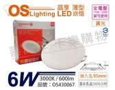 OSRAM歐司朗 LED 晶享 6W 3000K 黃光 全電壓 9.5cm薄型崁燈 _ OS430067