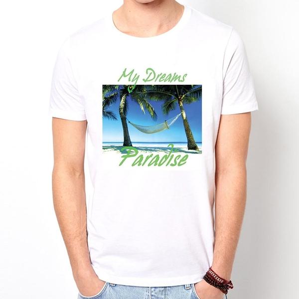 My Dreams短袖T恤-白色 夢想渡假海邊沙灘相片照片美國進口美國棉 LOMO