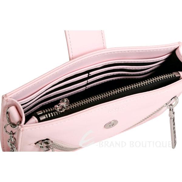 KENZO Kalifornia 雙拉鍊排釦設計皮革鍊帶包(粉色) 1630016-05