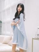 連衣睡裙女夏季冰絲可愛薄款長款寬鬆大碼學生宿舍睡衣胖mm200斤