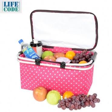 LIFECODE《點點風》鋁合金折疊保冰袋/野餐提籃-桃紅色