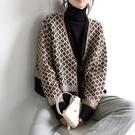 針織開衫女復古氣質撞色V領菱格寬鬆外套毛衣【聚寶屋】