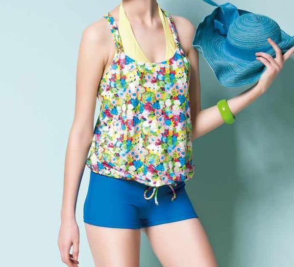 【 APPLE 】蘋果牌泳裝降價↘特賣~彩色碎花布綁帶搭比基尼三件式泳衣  NO.105414