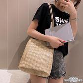 編織包 夏季草編包單肩大包包女潮編織大容量時尚水桶包 - 古梵希鞋包
