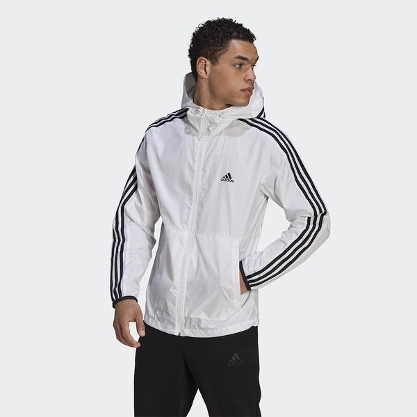 Adidas 3-Stripes Windbreaker 男裝 外套 連帽 風衣 可調節拉繩 口袋 白【運動世界】GQ0602