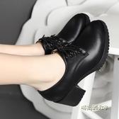 雪地意爾康2020春秋新款高跟女單鞋中跟粗跟深口系帶工作女鞋「時尚彩虹屋」