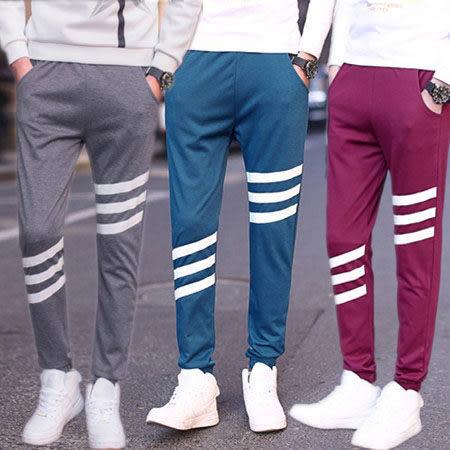 ※現貨【中大碼】三條紋縮口休閒棉褲 M-5XL碼【CM65026】