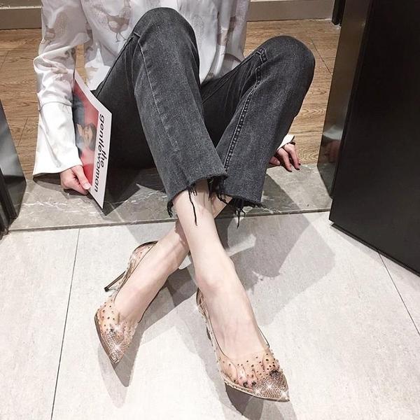 婚鞋高跟鞋女 新款秋季水晶網紅水鑽透明伴娘尖頭細跟歐美單  店慶降價