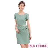 【RED HOUSE-蕾赫斯】素色珍珠腰鍊合身洋裝(共二色)
