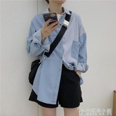 春季新款韓版寬鬆休閒慵懶外套牛仔襯衫上衣設計感小眾襯衣女 安妮塔小鋪