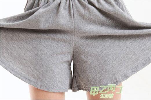 正韓夏款熱褲大尺碼寬鬆棉質短褲裙褲闊腿女鬆緊腰休閒褲子