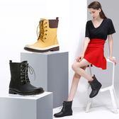 女式雨鞋中筒系帶橡膠女士雨靴戶外休閒時尚女鞋 DN1274【VIKI菈菈】TW