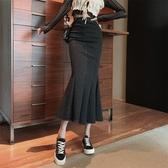 魚尾裙 2020年新款高腰一步中長款裙子女秋冬季包臀裙顯瘦魚尾開叉半身裙 韓國時尚週