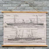 輪船仿古卷軸掛畫76*100-生活工場