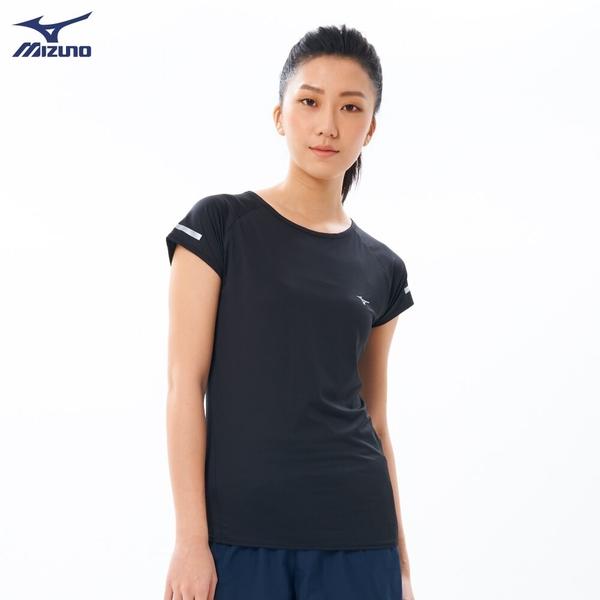 MIZUNO 女裝 短袖 上衣 慢跑 路跑 吸汗快乾 後背剪接 透氣 黑【運動世界】J2TA020109