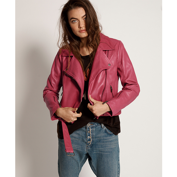 ONETEASPOON WW CERISE LEATHER BIKER JACKET 皮夾克-桃紅(女)