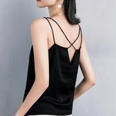 夏季美背吊帶背心女外穿性感露背交叉帶內搭打底小衫v領修身上衣 交換禮物