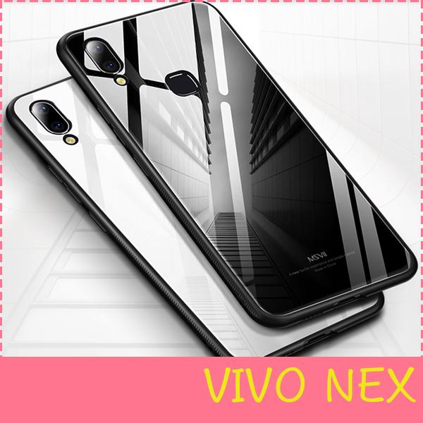 【萌萌噠】VIVO NEX 旗艦版  簡約純色男女鏡面系列 全包軟邊+鋼化玻璃背板保護殼 手機殼 手機套