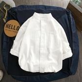 棉麻短袖襯衫男夏季七分袖韓版潮流休閒寬鬆襯衣立領新款 快速出貨
