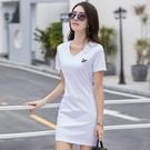 夏裝手工繡花韓版大碼女裝V領刺繡白色絲光棉t恤女短袖中長款上衣【快速出貨】