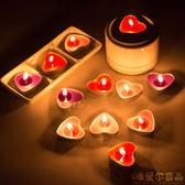 1盒50個情人節求婚表白生日心形蠟燭無煙 浪漫愛心蠟燭紅粉紫色