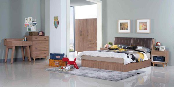 【森可家居】蘿拉5尺柚木色床頭箱 7JX17-1 雙人 收納功能 北歐工業風 MIT