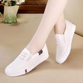 小白鞋女夏季新款韓版百搭帆布鞋一腳蹬春季平底休閒港風板鞋