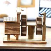 【中秋好康下殺】創意擺件音樂水車模型創意家居裝飾品酒櫃玄關木質擺件小工藝品八音盒