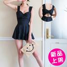 【777-0705】美背後綁帶顯瘦遮肚裙式泳裝 (黑/M-2XL)