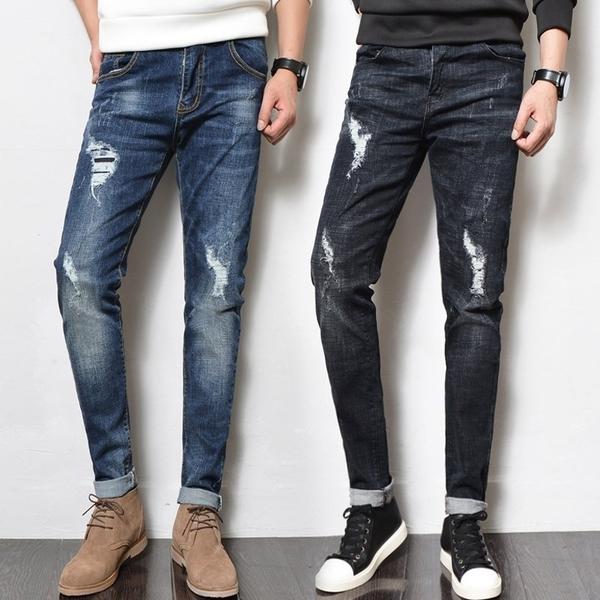 FINDSENSE H1日本 四季款 新款 潮男 水洗磨破 小腳牛仔褲 彈力修身
