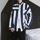 襯衫男 秋季新款長袖襯衫男士韓版寬鬆衣服原宿bf風條紋翻領襯衣潮流