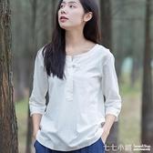 2018春夏復古民族風女裝襯衫棉麻七分袖寬鬆百搭亞麻短袖T恤上衣