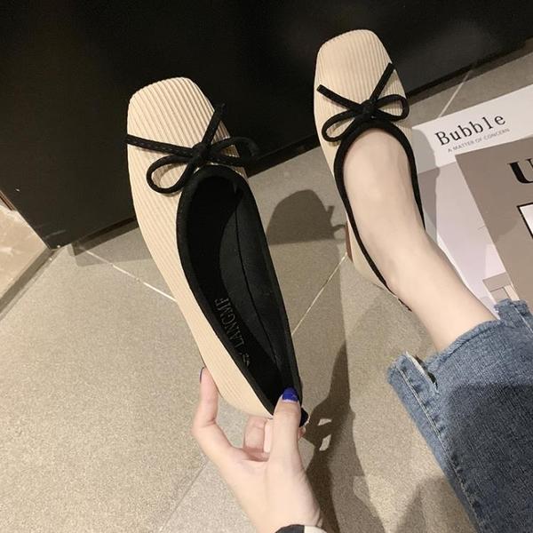 娃娃鞋 單鞋女2021春季新款韓版百搭蝴蝶結淺口軟底豆豆鞋方頭平底奶奶鞋