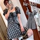 克妹Ke-Mei【AT65340】Desing心機設計感併接蕾絲格紋收腰小洋裝