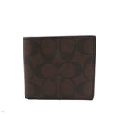 【COACH】PVC LOGO 8卡對開短夾(巧克力色)F75083 MABR