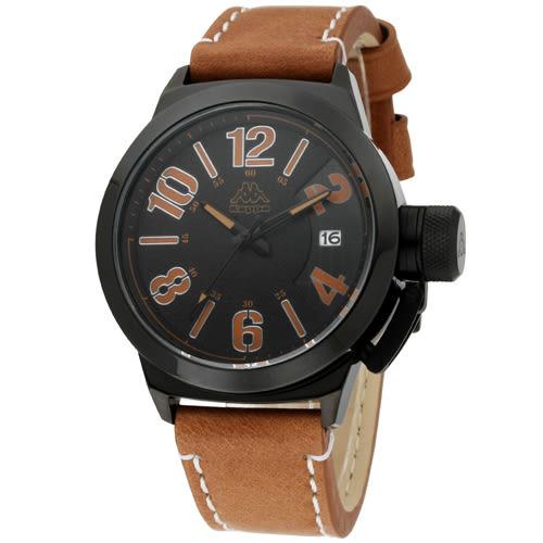 Kappa 獨特重金屬經典時尚腕錶-黑x土黃/49mm