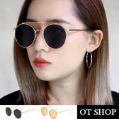 OT SHOP太陽眼鏡‧歐美復古嘻哈抗UV400圓金屬鏡框墨鏡‧金框全黑/粉反光‧現貨兩色‧U51