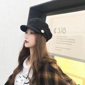 店長推薦▶小香風秋冬海軍帽子女士韓版貝雷帽時尚百搭潮新款網紅英倫八角帽