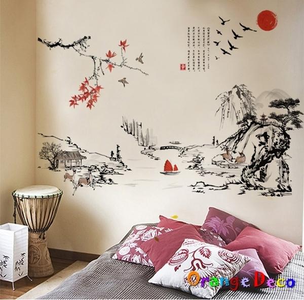 壁貼【橘果設計】山水畫 DIY組合壁貼 牆貼 壁紙 室內設計 裝潢 無痕壁貼 佈置