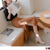 微性感側開衩後鬆緊A字長裙 OrangeBear《CA2422》