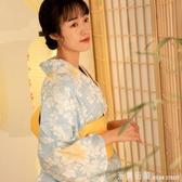 和服 和風細語藍色百合長款和服夏日祭煙火大會浴衣復古洋裝