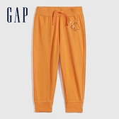 Gap男幼童 碳素軟磨系列法式圈織 動物印花純棉軟休閒褲 700529-橙色